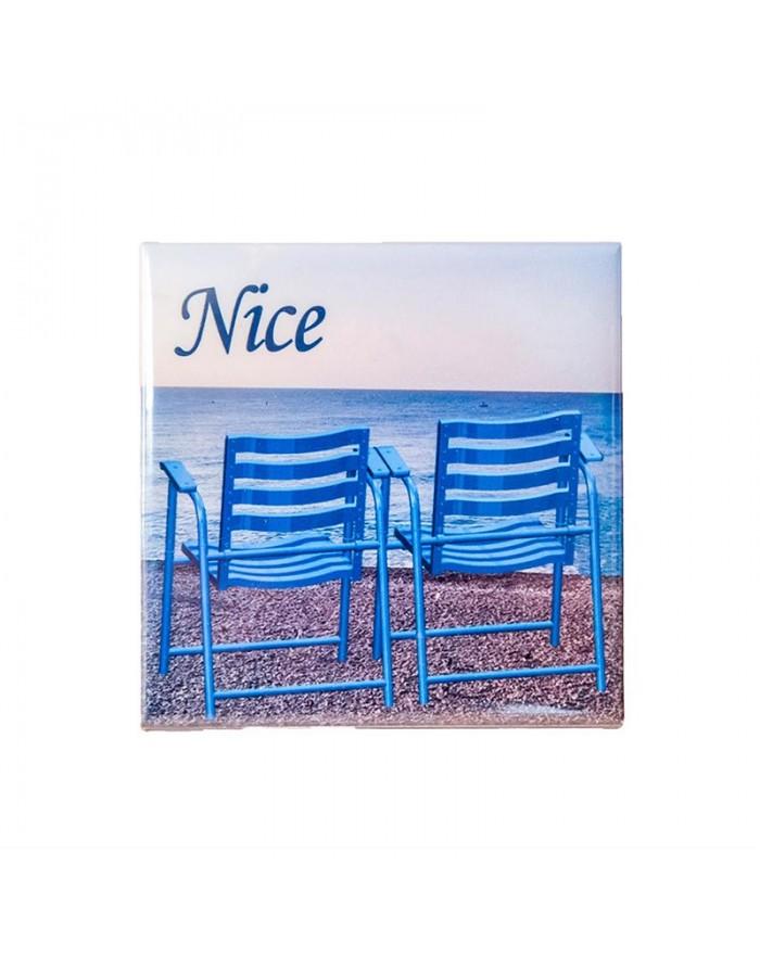 Dessous de bouteille 2 chaises bleues Nice