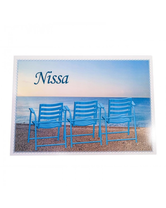Set de table Nissa 3 chaises bleues