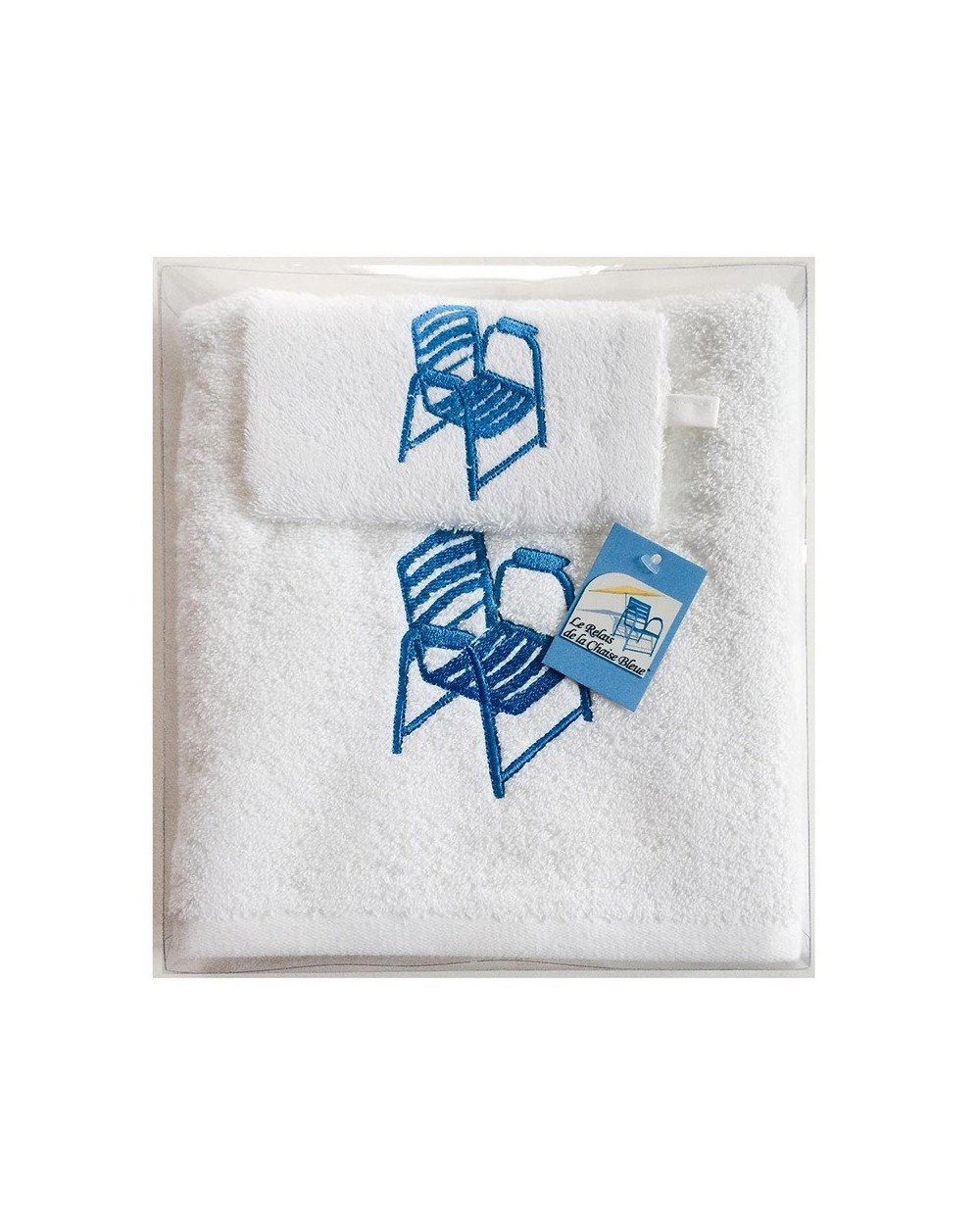 Coffret Gant - Serviette blanche Chaise Bleue