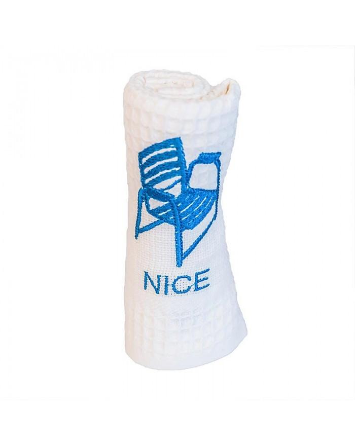 Torchon brodé blanc Nice - Chaise Bleue
