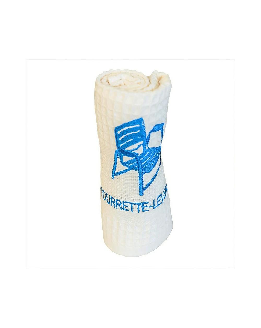 Torchon brodé écru Tourrette-Levens - Chaise Bleue