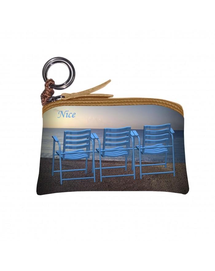 Porte monnaie 3 chaises bleues