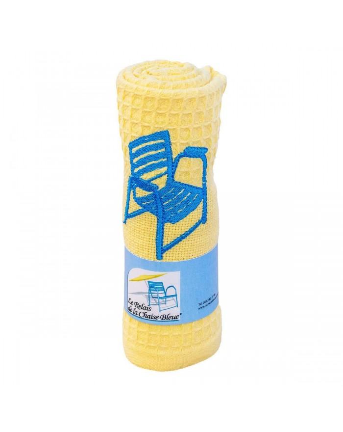 Torchon brodé jaune Nice -...