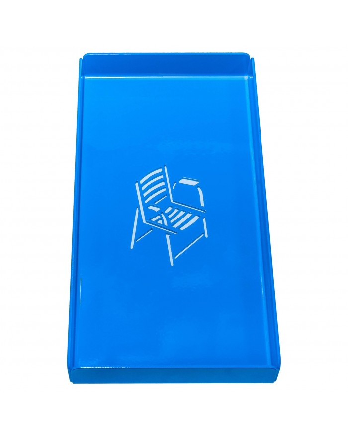 Long Metal Tray Blue Chair