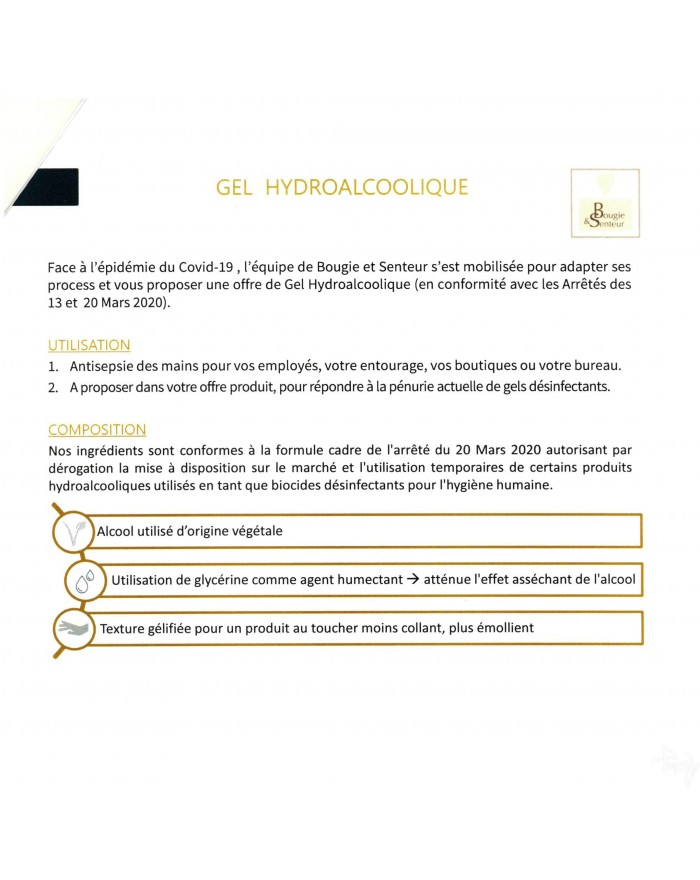 Gel Hydroalcoolique - Notice de Bougie et Senteur