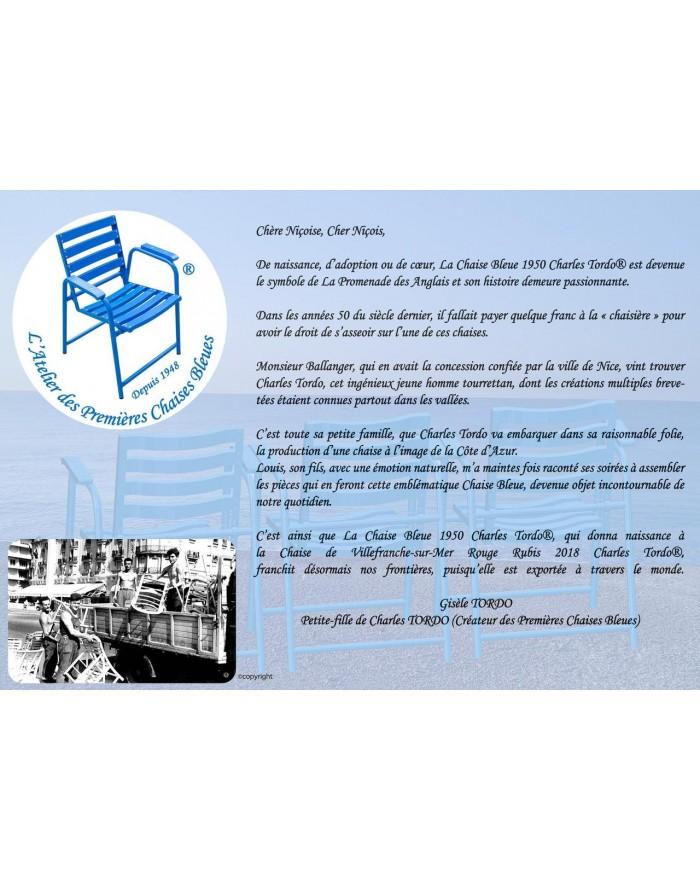 """Verso Set de table présentant la mini bande-dessinée """"La Chaise Bleue racontée aux enfants""""."""