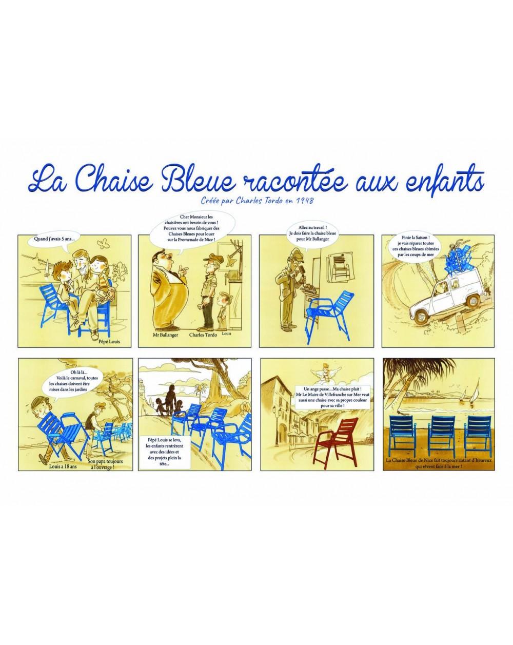 """Set de table présentant la mini bande-dessinée """"La Chaise Bleue racontée aux enfants""""."""
