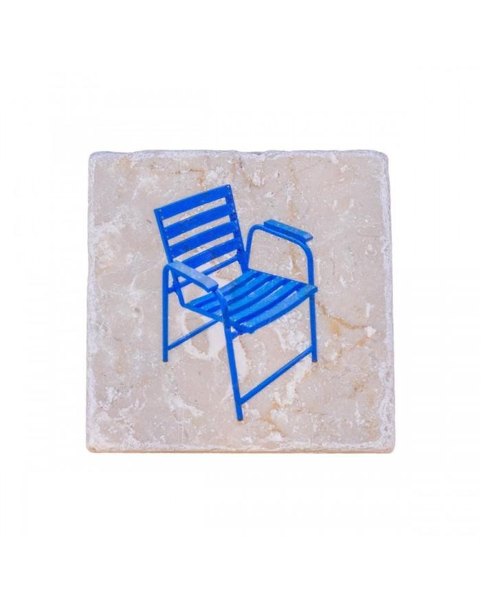 Dessous de bouteille marbre - Chaise Bleue