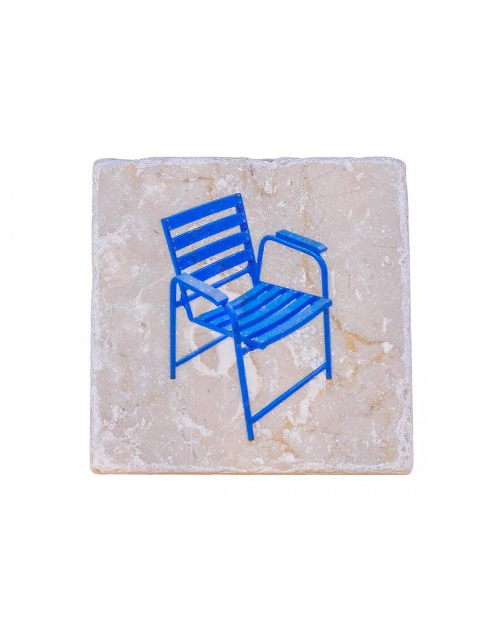 Dessous de bouteille en marbre de Vérone. Motif Chaise Bleue.