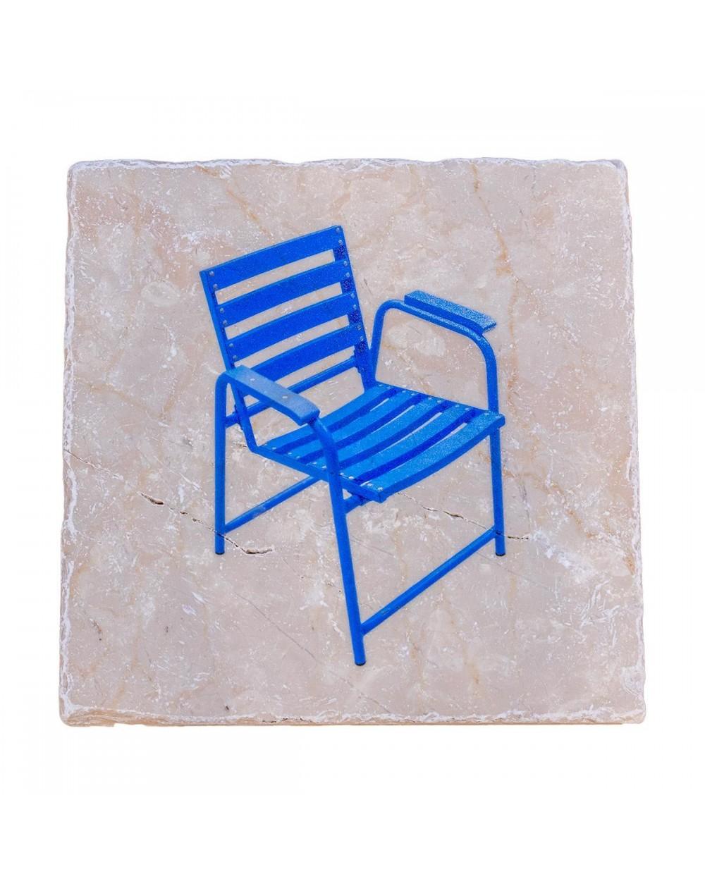 Dessous de plat en marbre de Vérone. Motif Chaises Bleue.