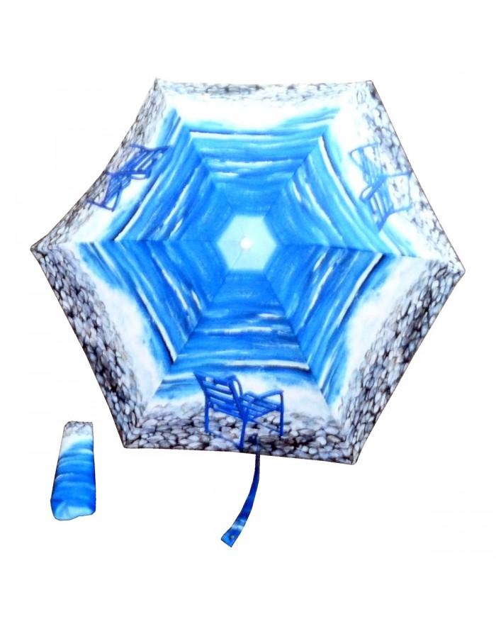 Parapluie pliant Chaise Bleue sur galets