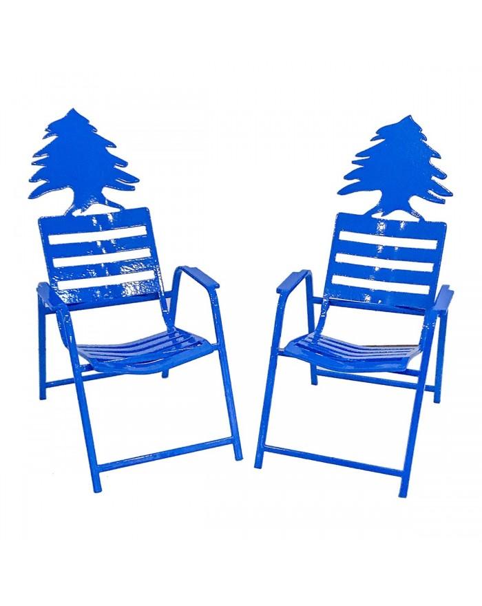 2 Chaises Bleues au Cèdre du Liban.