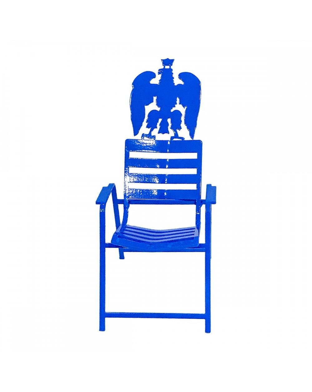 Chaise Bleue 3D surmontée de l'Aigle de la ville de Nice