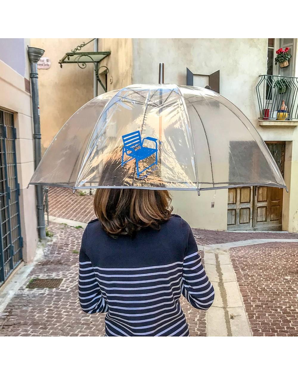 Parapluie transparent canne avec logo Chaise Bleue.