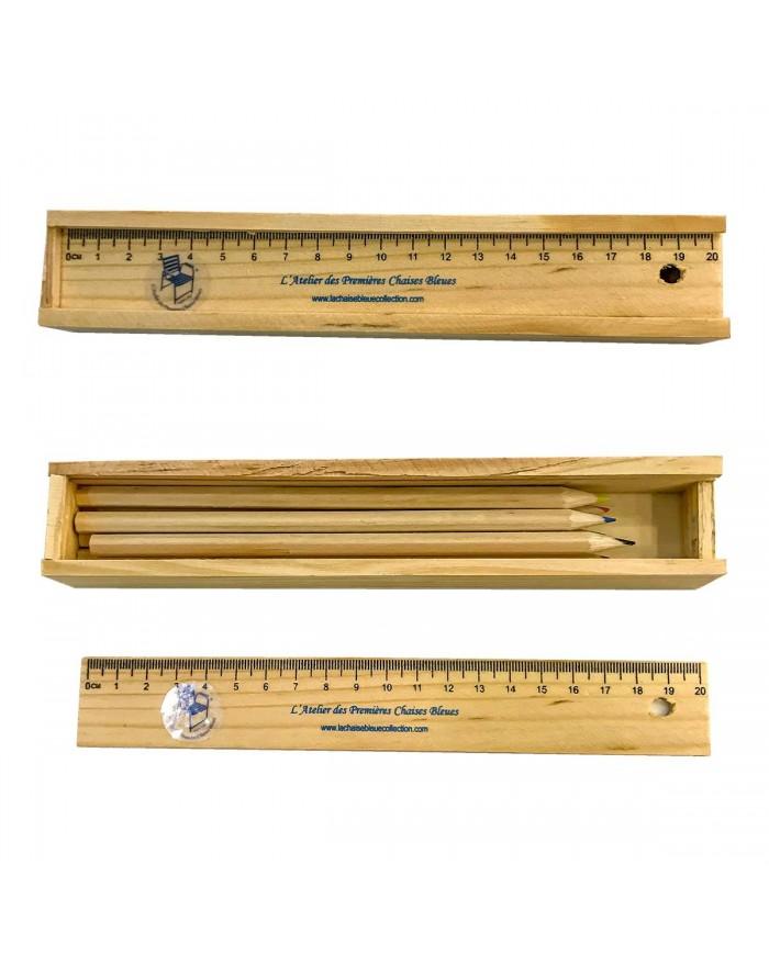 Boite de 6 crayons de couleur avec règle en bois Chaise Bleue Collection