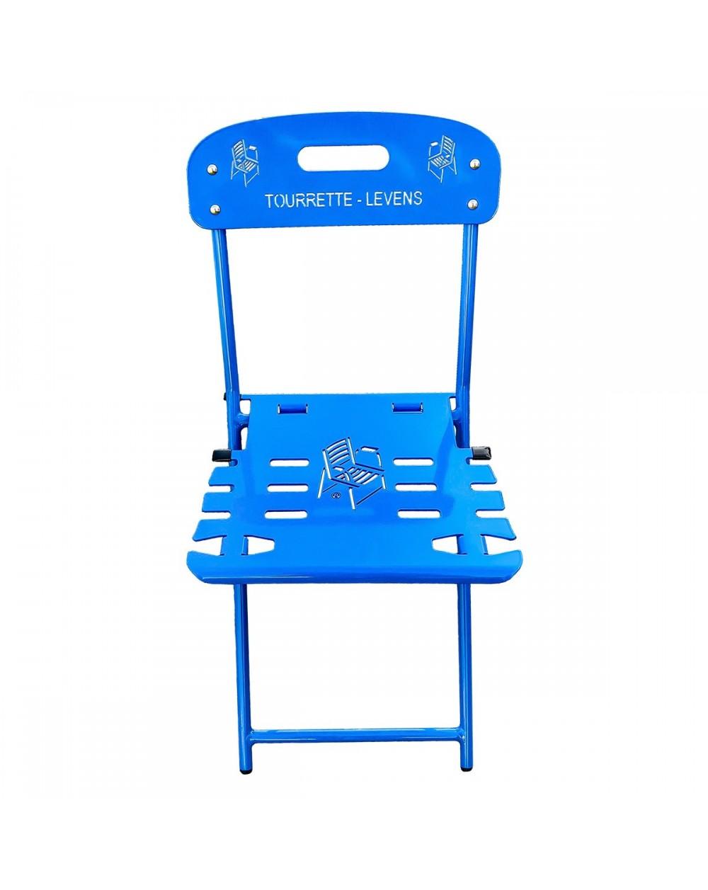 Chaise pliante. Chaise traditionnelle des jardins municipaux modernisée par La Chaise Bleue Collection