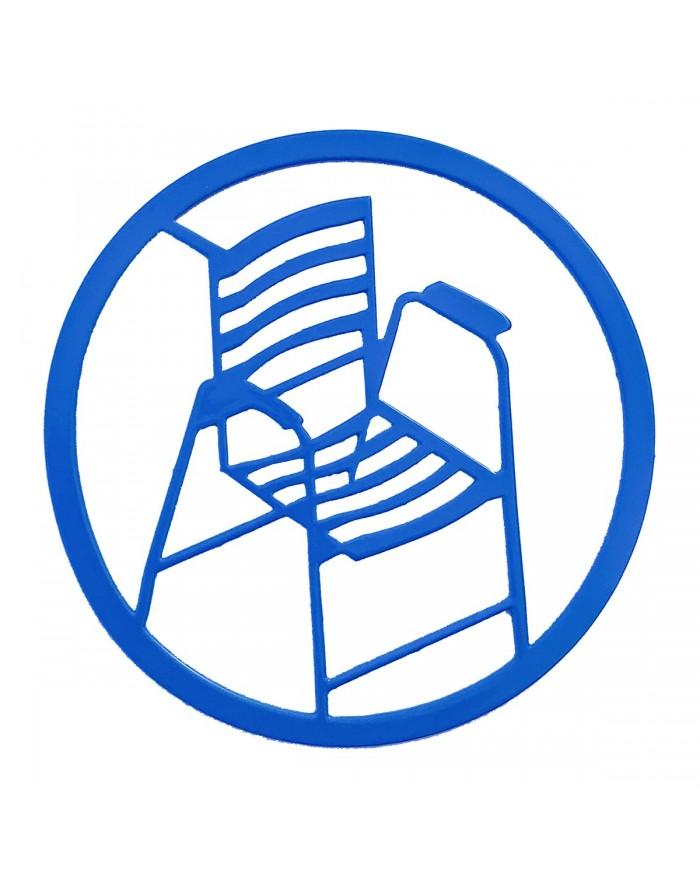 Dessous de bouteille en acier Chaise Bleue.