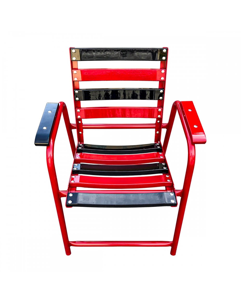 Chaise Bleue red and black