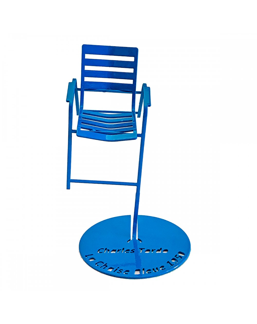 Blue chair in suspension (front view)