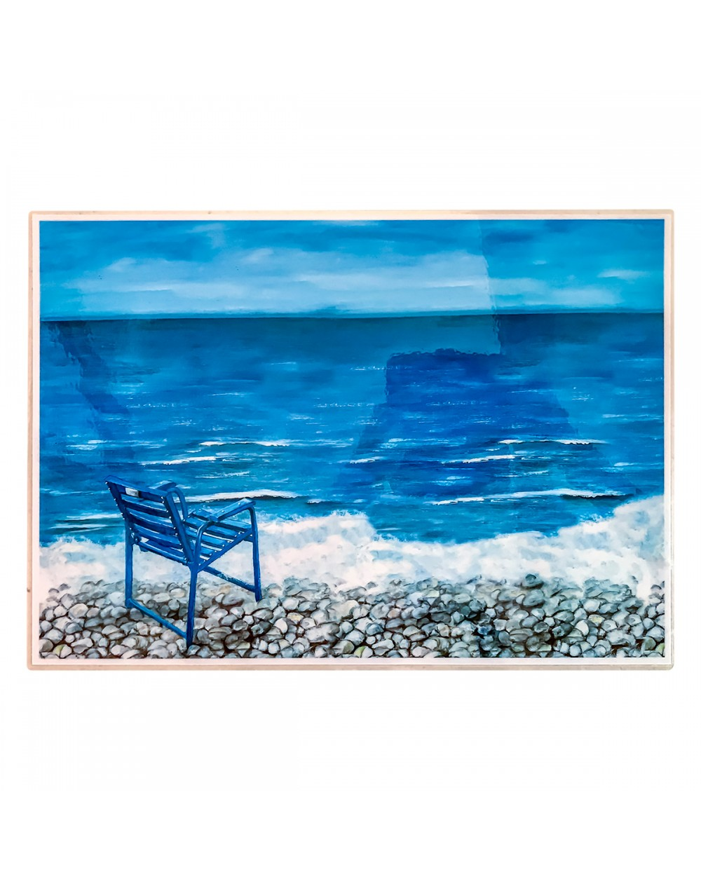 Placemat Blue Chair on sea and pebbles (verso)