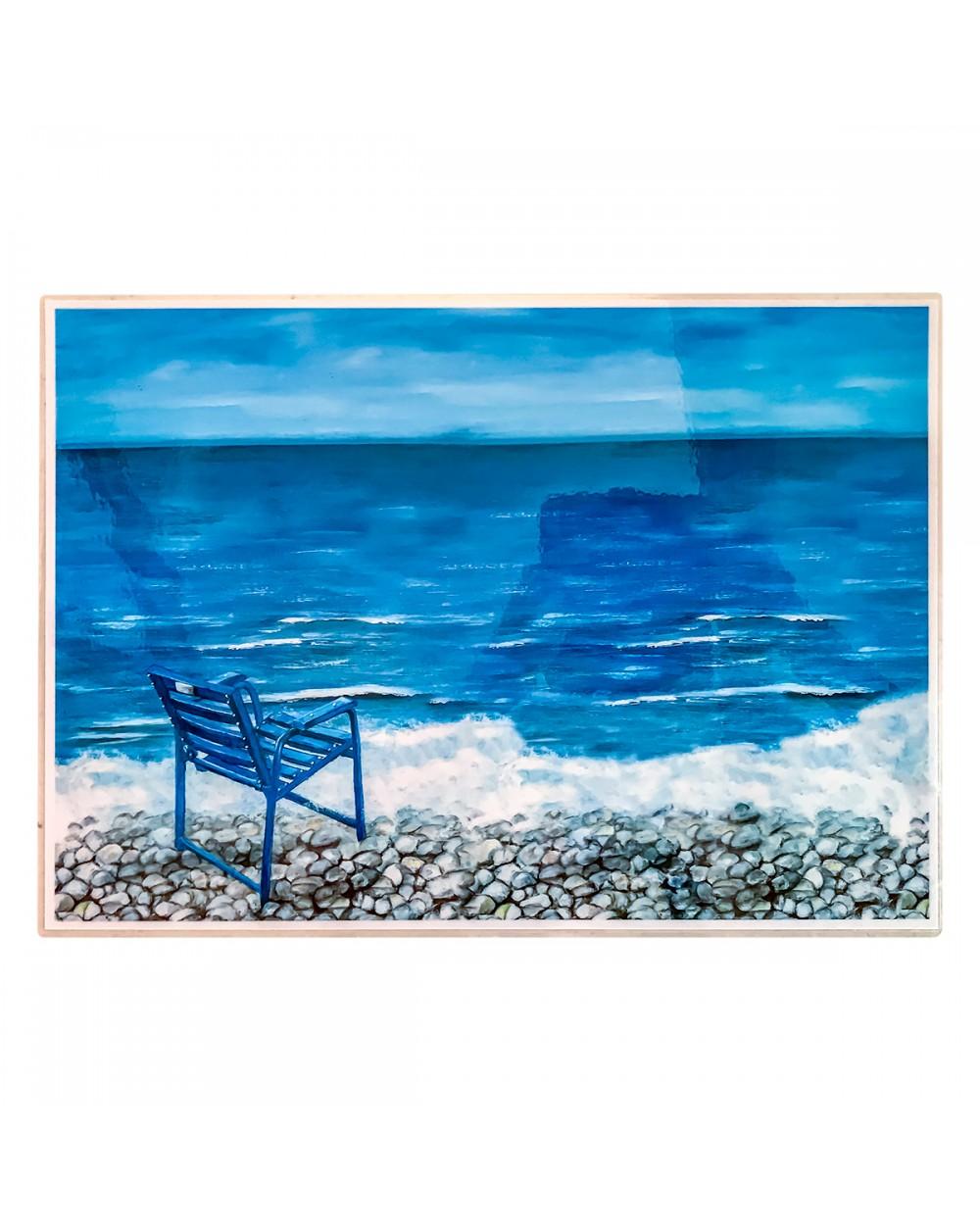 Set de table peinture Chaise sur mer et galets (verso)